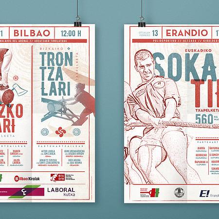 Linea gráfica carteles de la federación vizcaína de juegos y deportes vascos