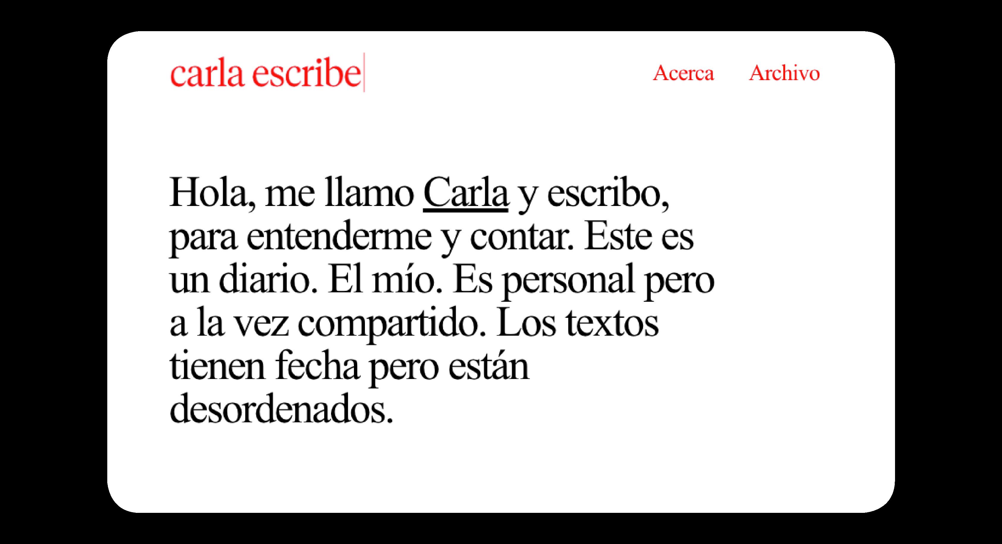 Carla escribe by Alberto Molina Arce - Creative Work
